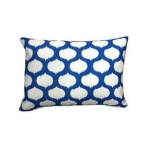 Blue & White Ikat Outdoor Pillow